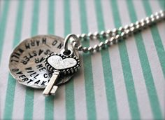 Hand Stamped Sterling Silver Necklace with by BlissStampedJewelry, $48.00