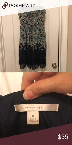 Lauren Conrad dress Wore it only once! Can also be strapless. Navy with cream, mint green and a little pink. LC Lauren Conrad Dresses Midi