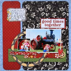 Cute Layout for summer! ADORNit Vintage Groove paper collection