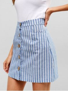 blue striped short skirts buttons up - Kleidung - Jupe Mode Outfits, Casual Outfits, Fashion Outfits, Fashion Ideas, Club Outfits, Stripe Skirt, Striped Skirt Outfit, Patterned Skirt, Summer Skirts