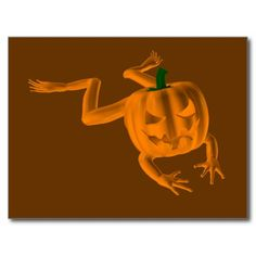 Orange Halloween Frog Postcards