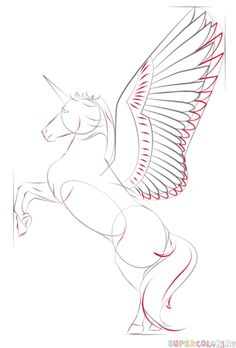 How to draw a realistic unicorn step by step. Drawing tutorials for kids and beginners.