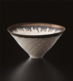 """View Conical """"Rice"""" bowl (Circa By Lucie Rie; Porcelain, matte white glaze flowing over a pierced body, bright golden lip; Access more artwork lots and estimated & realized auction prices on MutualArt. Ceramic Tableware, Ceramic Clay, Ceramic Bowls, Kitchenware, Pottery Bowls, Ceramic Pottery, Pottery Art, Rice Bowls, Tea Bowls"""