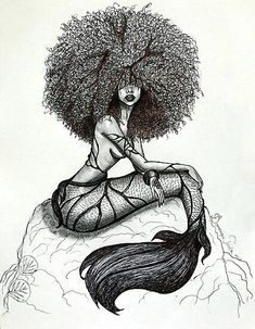 Goddess of the Sea is a part of my Mermaid Series # Untamed. She is my depiction of a mermaid based on the stories I was told as a child of the beautiful mermaids that lived in the blues holes of The Bahamas. Black Love Art, Black Girl Art, Art Girl, Tattoo Girls, Girl Tattoos, Black Art Painting, Black Artwork, Afro Tattoo, Body Art Tattoos