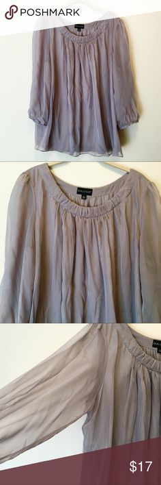 Lavender Silky Flowy Peasant Blouse Lavender purple silky 3/4 length sleeve peasant shirt with sheer sleeves by Dialogue.  Size XL.  Excellent condition! Dialogue Tops Blouses