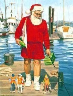 Fishing Santa walking on deck in shorts with mini elves