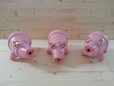 The Three Little Pigs Terracotta Garden by LynnesPaintedPots, $75.00