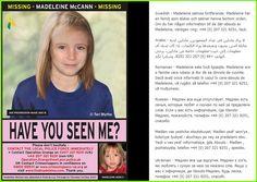 Computerised image of what missing Madeleine McCann might look like now - Swedish, Arabic, Romanian, Russian, Ukrainian.