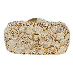 477c88e45baa Luxury crystal clutch evening bag Golden rose flower party purse women  wedding bridal handbag pouch soiree pochette bag SC013