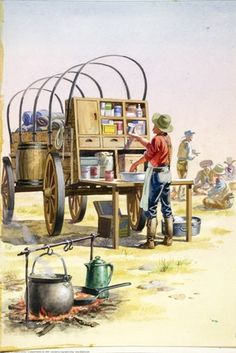 The Chuck Wagon The Story of The Cowboy Kent Rollins, Outdoor Magazine, Cowboy Art, Cowboy Food, Chuck Wagon, Covered Wagon, Western Art, Cowboy Western, Le Far West