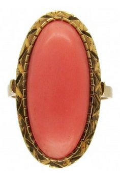 18ct Gold Coral Ring Art Deco (1920-1935) A good looking ring which has been set with an oval piece of coral which has a subtle colour.  Measurements	Coral measures ¾in / 2cm from top to bottom   Hallmarks	Marked 750 for 18ct gold Date  Origin	Art Deco (1920-1935)