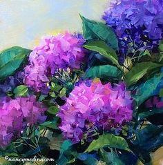 Confetti Pink Hydrangeas by Nancy Medina Oil ~ 14 x 14