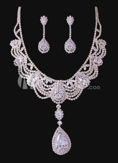 Charming Water Drop White Brides Wedding Jewelry Set. Earrings Size 5*1.5 cmPendant Size 9.5*2.4 cmChain Length 38-41 cm. See More Wedding Jewelry Sets at http://www.ourgreatshop.com/Wedding-Jewelry-Sets-C924.aspx