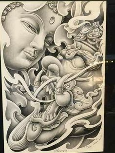 japanese tattoos and meanings Buddha Tattoo Design, Buddha Tattoos, Japanese Dragon Tattoos, Japanese Tattoo Art, Japanese Tattoo Designs, Tattoo Sketches, Tattoo Drawings, Body Art Tattoos, Drawing Sketches