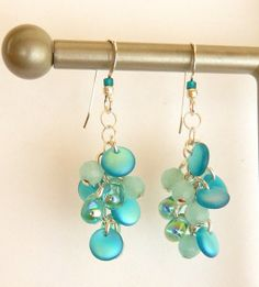 Cool Waters Cluster Dangles by DragonflyBlueJewelry on Etsy, $23.00