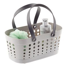 Enjoy free shipping on all purchases over $75 and free in-store pickup on the Casabella Grey Flexible Shower Basket at The Container Store. Our Flexible Shower Basket is a fashionable and functional accessory for trips to the shower!  There's an integrated divider inside to help organize toiletries.  Drain holes allow water to escape.