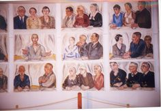 """A color photograph of the central portion of Alice Stallknecht's mural """"The Circle Supper"""" 1935. Portraits that make up the mural picture people who lived in Chatham at the time. Housed in the Mural Barn at Chatham Historical Society. """"Christ Among You"""" is the central portrait in the mural. #chatham, #cape cod #alicestallknecht, #chathamhistoricalsociety, #muralbarn, #stallknecht, #mural, #oilpainting Historical Society, Local Artists, Cape Cod, Murals, Christ, Alice, Photo Wall, Photograph, Barn"""