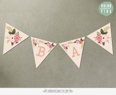 Printable Botanical Bouquet Baby Shower Bunting Banner - Hello Baby Flowers DIY Printable Banner - Baby Boy and Baby Girl. $9.00, via Etsy.