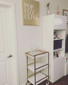 Gold bar cart made from Ikea Sunnersta