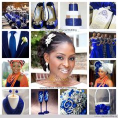 nigerian wedding cobalt blue, white and silver wedding color scheme