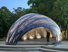 Lightweight pavilion mimics the structure of water spider nests