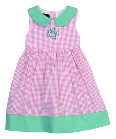 Another great find on #zulily! Pink & Mint Green Monogram Tank Dress - Infant, Toddler & Girls by Lil Signature by Lil Cactus #zulilyfinds