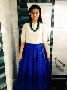 Keerthy Suresh Hot Images, Stills, Photos Long Gown Dress, Long Shirt Dress, Indian Designer Outfits, Indian Outfits, Long Skirt And Top, Tops For Long Skirts, Long Skirt With Shirt, Skirt Fashion, Fashion Dresses