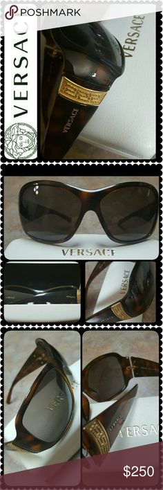 Versace Italy Sunglasses Versace Tortoise Designer Sunglasses with Gold Metal Accent of Iconic Versace Logo and Print on Both Sides, Made in Italy, Mod. 4103 461/3 65 15, Barely Used in Almost Like New Condition, Must Have Designer Staple! Versace Accessories Sunglasses