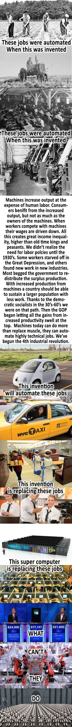 Competing with Machines Technological Unemployment, 4 Industrial Revolutions, Government Spending, Great Depression, Socialism, Bernie Sanders, Economics, Productivity, Wealth