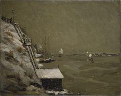 Muelle del East River en invierno Robert Henri