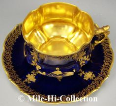 """RARE Limoges France Hand Painted Raised Gold Roses on Cobalt Blue Cup Saucer 