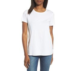 Women's Eileen Fisher Organic Cotton Crewneck Tee ($88) ❤ liked on Polyvore featuring tops, t-shirts, white, white top, white short sleeve top, white tee, short sleeve tee and crew neck t shirt