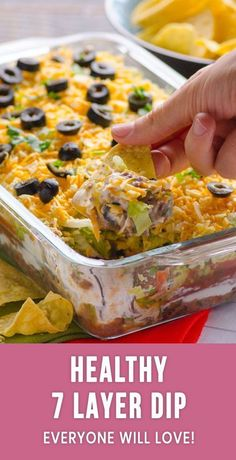 Healthy 7 Layer Dip - iFOODreal - Healthy Family Recipes Healthy 7 (Seven) Layer Bean Dip Recipe is all time favourite Mexican taco dip with black beans, salsa, Greek yogurt, lettuce and a bit of cheese. Healthy Potluck, Healthy Dip Recipes, Bean Dip Recipes, Healthy Tacos, Healthy Dips, Healthy Appetizers, Mexican Food Recipes, Appetizer Recipes, Mexican Appetizers