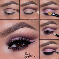 "AMAZING LOOK by @elymarino : ""Using @motivescosmetics let's begin.. 1.With an angled brush Map out your shape using ""Vino"" (follow your own natural shape) 2.With a fluffy brush begin to defuse the sharp line we created with ""Plum"" shadow (my beauty Weapon palette) 3.Pat ""Porcelain Doll"" blush onto the lid, staying underneath the crease  4.Line the waterline using ""LBD"" gel liner and smudge out using ""Vino"" 5.Add your wing using ""Little Black dress gel liner"" highlight the inner corner of the…"