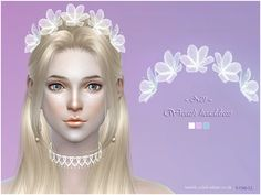 sims 4 cc // custom content accessories // the sims resource // S-Club LL Wreath headdress 01 Sims 4 Mods, Sims 4 Accessories, Bridal Accessories, Sims 4 Wedding Dress, The Sims 4 Cabelos, Sims4 Clothes, Sims 4 Cc Makeup, Sims Four, Sims 4 Toddler