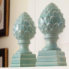 Aqua Artichoke Finials from The Source Collection