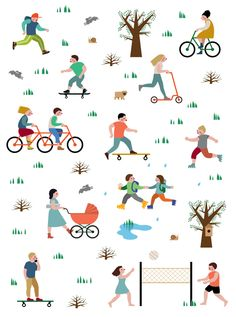Different patterns created to signify Gorky Park activities, serving themes such as: Sport, Gorky Park Green School, and ice cream shops. People Illustration, Flat Illustration, Character Illustration, Graphic Design Illustration, Watercolor Illustration, Digital Illustration, Different Patterns, Cool Patterns, Logo Arbol