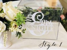 Clear Glass Look Acrylic Wedding Cards Sign Box with Names and
