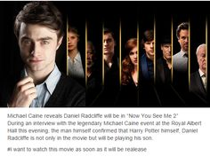 """Daniel Radcliffe will be in """"Now You See Me Too 2""""Oh my gosh this is so awesome  I didn't even know they were making a second one!!!!!!"""