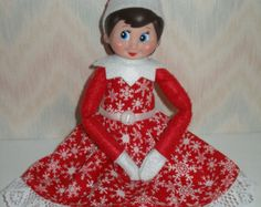 Elf on the Shelf clothes - red and white snowflakes Holiday Dress