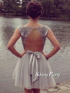 Short Backless Gray Prom Dresses,Graduation Dresses,Formal Dresses,Homecoming Dresses