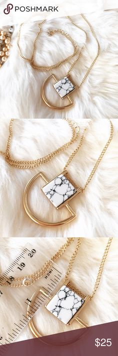 """- WHITE MARBLE SQUARE NECKLACE - Square white marble necklace with half circle gold detail.  Gorgeous necklace easy to wear with anything! Wear with jeans and a cozy sweater for a casual look or wear with a button down shirt and heels for work! Marble varies slightly for each piece. Adjustable chain length:  28"""" - 30"""" Perfect Stocking Stuffer! Pair with other jewelry accessories in my closet for 20% off!  No trades / selling off of Posh.  ✨Offers always welcome!✨ Claire Louise Boutique…"""