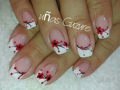 Flower Nail Designs, Red Nail Designs, French Nail Designs, Flower Nail Art, Nail Designs Spring, Funky Nail Art, Pretty Nail Art, Cute Spring Nails, Nail Art Kit