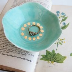 Turquoise gold leaf ring dish jewelry holder handmade by Kabinshop