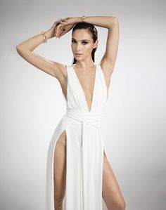 Gal Gadot (who played Wonder Woman in 2017) is pretty daring in this slitted dress