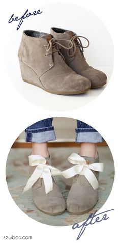 Easy way to update any old shoe - so cute! DIY Ribbon Shoe Laces Tutorial at Sewbon.com