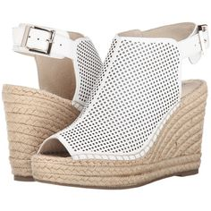 Kenneth Cole New York Olivia Perf Women's Wedge Shoes, White ($90) ❤ liked on Polyvore featuring shoes, sandals, white, platform espadrilles, platform shoes, gladiator sandals, ankle strap sandals and white espadrilles