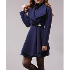 $30.49 Solid Color Noble Style Worsted Turn-Down Collar Long Sleeves Women's Coat