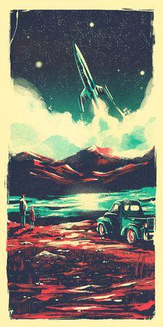 "Interstellar by Marie Bergeron  Inspired by Christopher Nolan's masterpiece - Interstellar. Exhibited at 8Bit Gallery in LA for ""Space Heroes"".  Digital painting - 12x24"