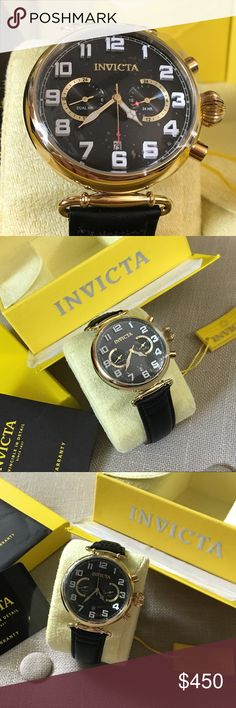 🆕 Invicta Men's Aviator Watch This incredible Invicta Men's Aviator Watch is brand new with tags, warranty, case, dust cloth and box. This is an absolutely stunning men's watch! Band is genuine Calf leather and watch face is stainless steel with Flame-Fusion Crystal. Watch is water resistant up to 50M. Size: 22mm with regular clasp and buckle closure.  Such a great time piece! Was a gift for my husband and he refuses to wear a watch so our loss, your gain! Offers always welcome. Invicta…